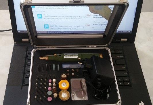 Máy khoan mài cắt đánh bóng mini cầm tay đa năng 80 món hộp nhôm WLXY P-800