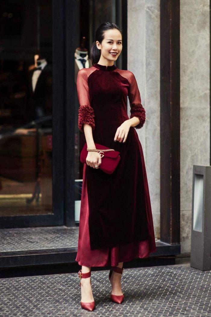 Một trong 8 phong cách áo dài được ưa chuộng đó là áo dài nhung cách tân