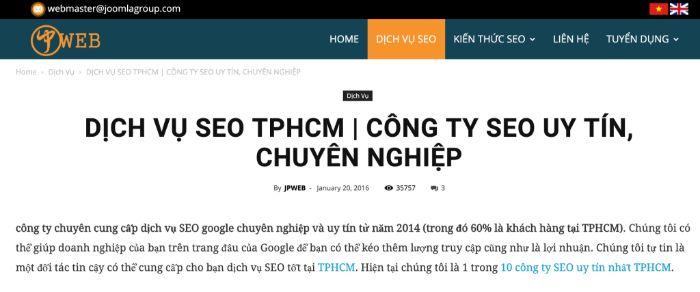 JPWEB là một trong 8 công ty SEO uy tín ở TPHCM, đây là công ty chuyên cung cấp dịch vụ SEO google chuyên nghiệp