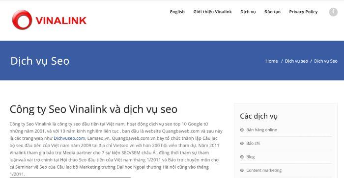 Công ty SEO Vinalink là một trong 8 công ty SEO uy tín ở TPHCM mà bài viết muốn giới thiệu đến