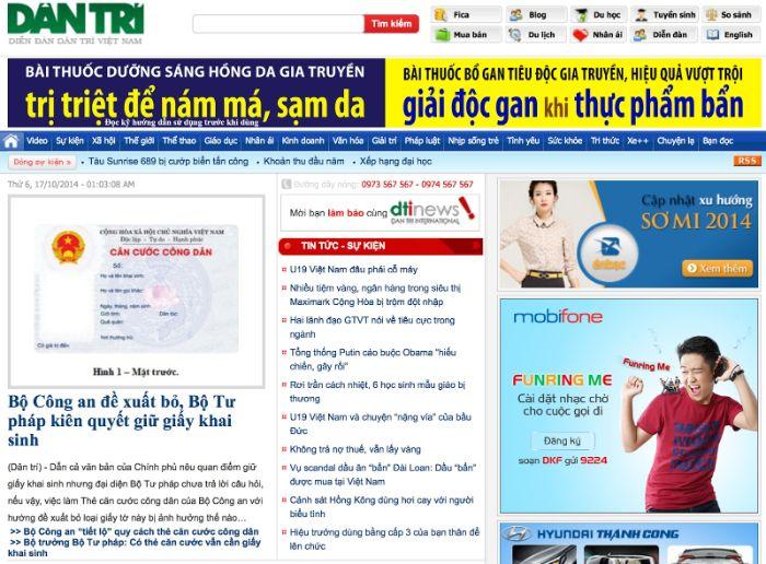 Báo Dân trí thuộc tờ báo điện tử Trung ương Hội khuyến học Việt Nam