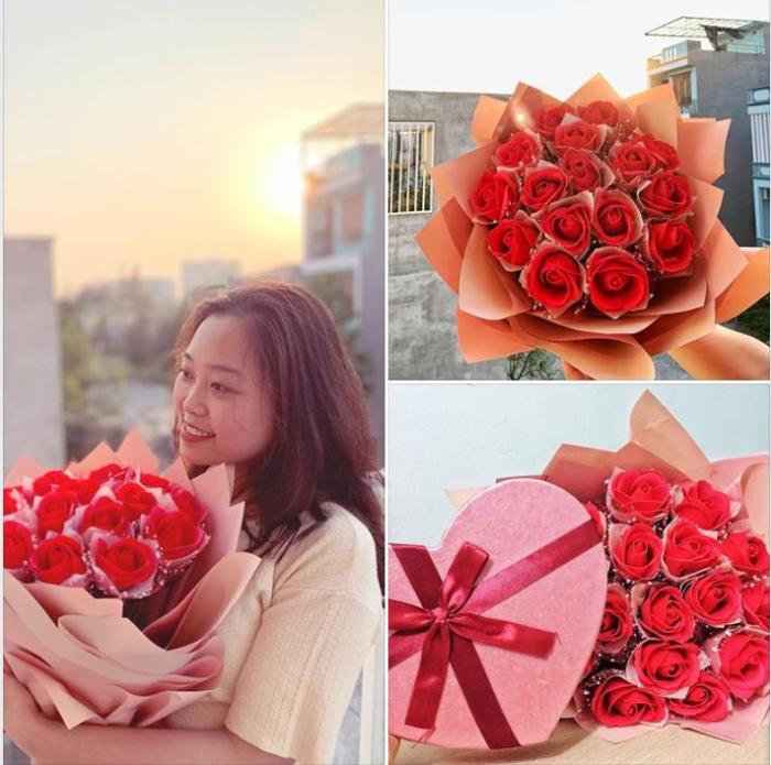 Nụ cười hạnh phúc của bạn gái khi được tặng hoa và quà nhân dịp Valentine
