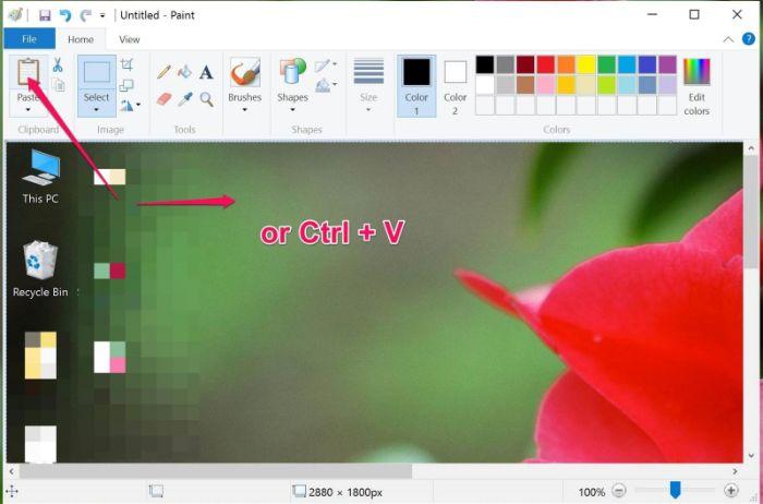 Nhấn Ctrl+V để dán ảnh vừa chụp