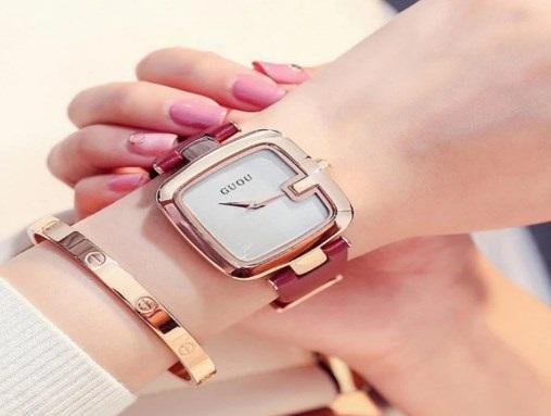 Đồng hồ nữ dây da Guou 8810