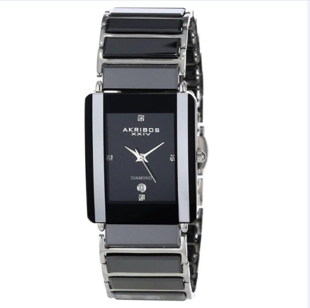 Đồng hồ nam Akribos XXIV Men's AK521BK Ceramic Rectangular Quartz Bracelet Watch