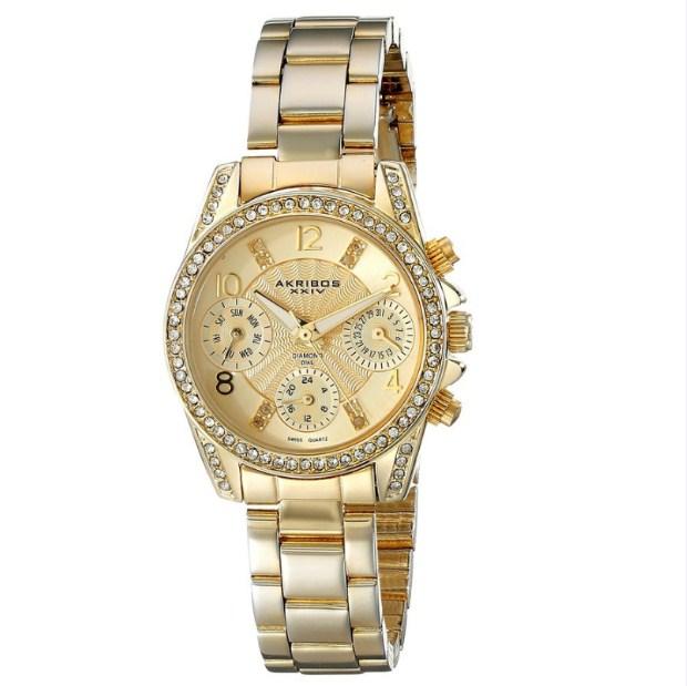 "Đồng hồ nữ Akribos XXIV Women's ""AK710YG"" Multifunction Diamond & Crystal Gold-Tone Bracelet Watch"