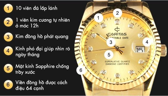 Đồng hồ Caritas được mạ vàng và đính kim cương theo công nghệ tiên tiến mới nhất