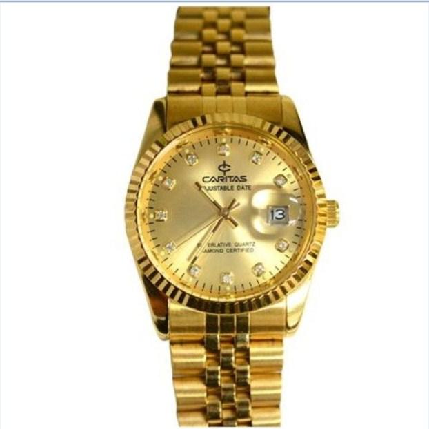 Đồng hồ nam dây thép không gỉ mạ vàng Caritas.
