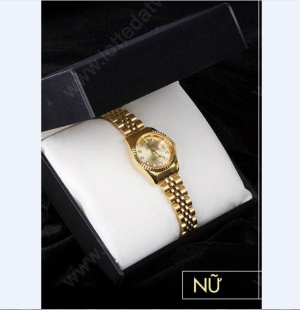 Đồng hồ nữ dây thép không gỉ mạ vàng Caritas