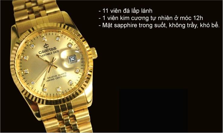 Đồng hồ nữ mạ vạng kim cương Caritas quý phái. .