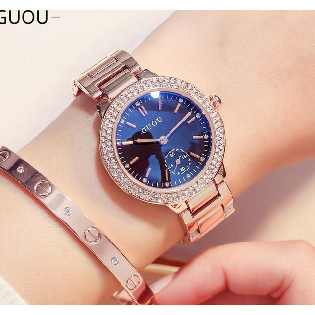 Đồng hồ nữ dây thép không gỉ Guou 8141