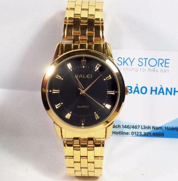Đồng hồ dây thép không gỉ Halei HA1395A (Mặt đen dây vàng)