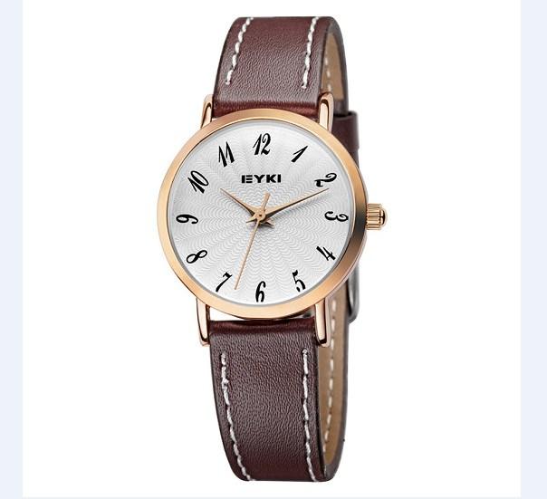 Đồng hồ nữ EYKI EET8708L-RG0107 dây da nâu mặt trắng.