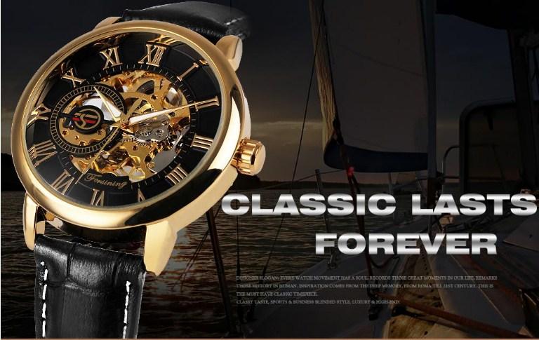 Đồng hồ nam chính hãng Forsining dây da lộ cơ mới nhất 2018