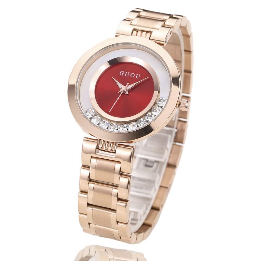 Đồng hồ nữ thép mạ vàng không gỉ GUOU G8039