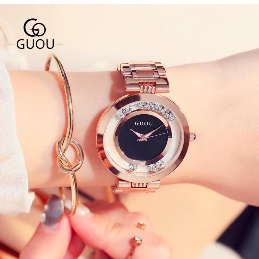Đồng hồ nữ dây thép đá chạy GUOU MDL-G8130