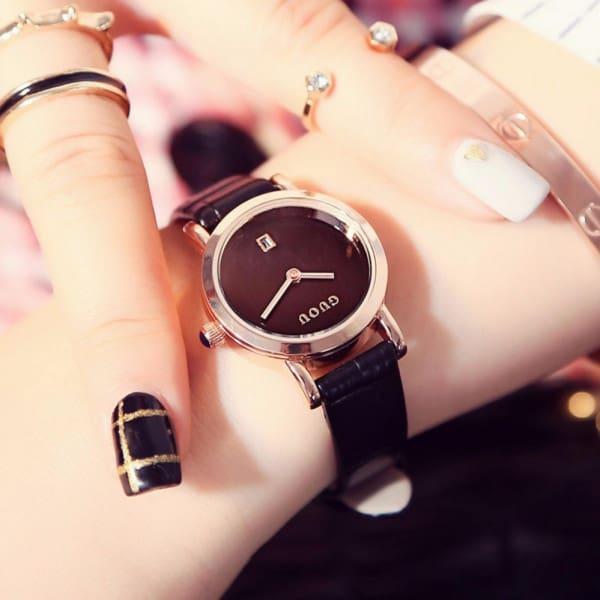 Đồng hồ nữ dây da Guou 1001