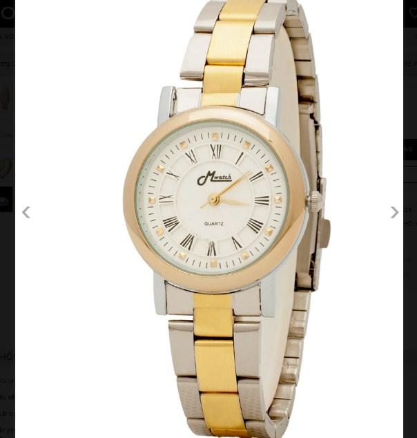 Đồng hồ nữ Mwatch MW666 dây kim loại màu vàng.
