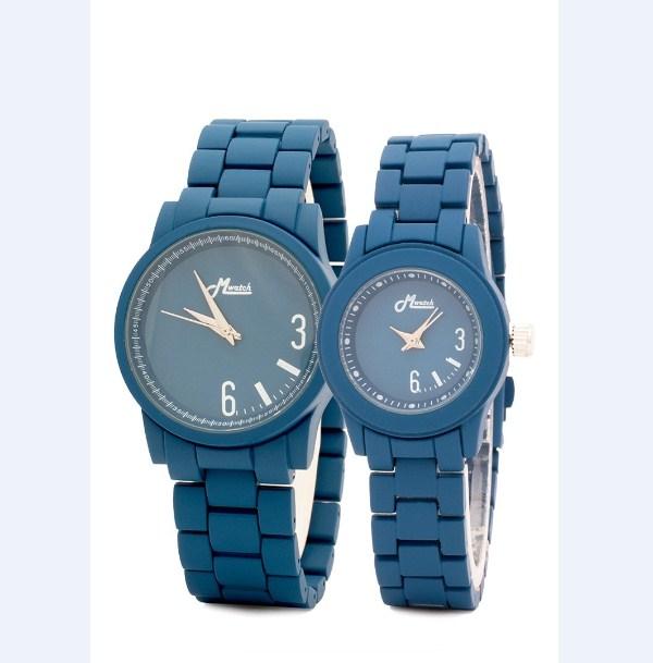 Đồng hồ đôi Mwatch MW887 dây kim loại màu xanh đen