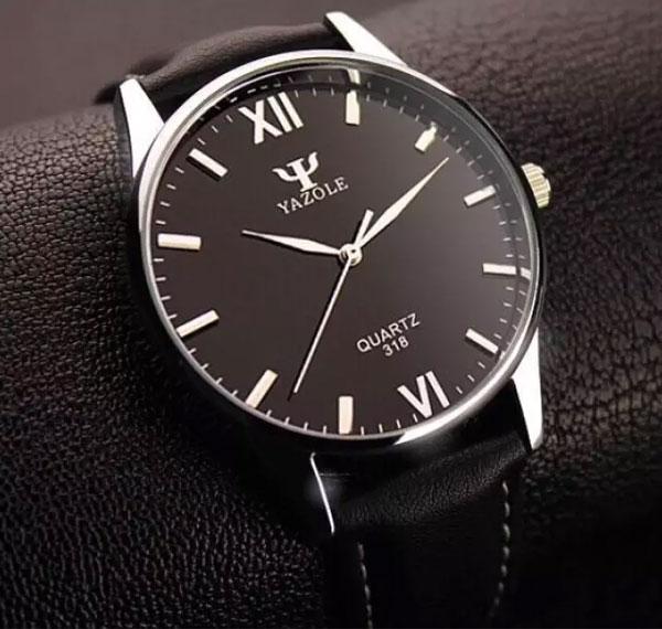 Đồng hồ nam Yazole 318 dây da