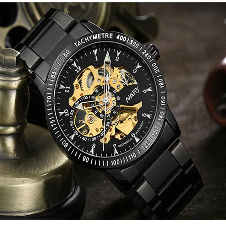 Đồng hồ cơ chống nước Nary với thiết kế phong cách, ấn tượng