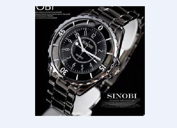 Đồng hồ nam dây thép giả ngọc trai Sinobi 1850 màu đen