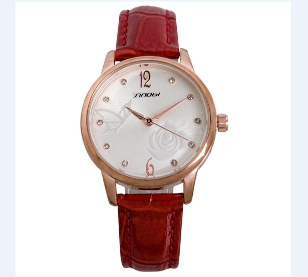 Đồng hồ nữ dây da Sinobi 9500 màu đỏ nổi bật