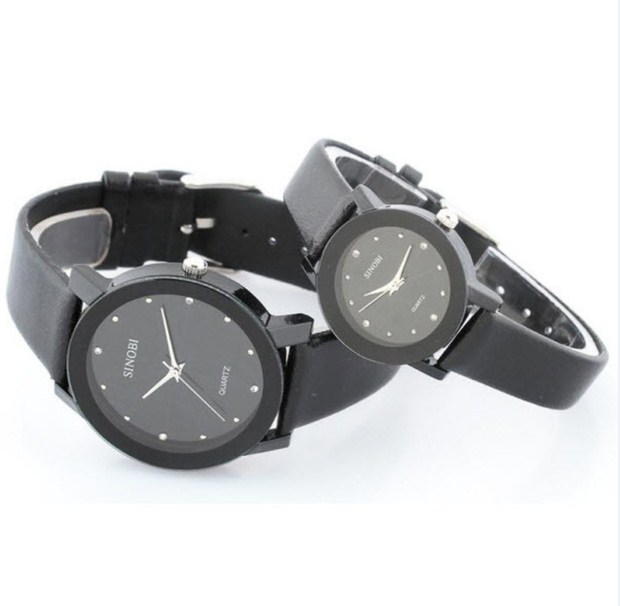 Đồng hồ đôi dây da Sinobi 98KN1 màu đen
