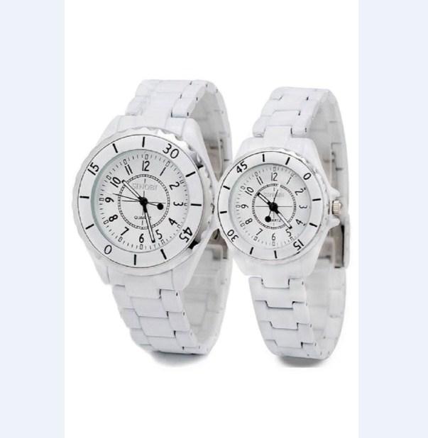 Đồng hồ cặp dây thép giả ngọc trai Sinobi 1850 màu trắng