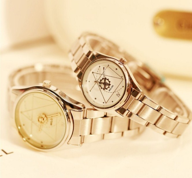 Đồng hồ cặp dây thép không gỉ Wilon 2318Gmàu vàng