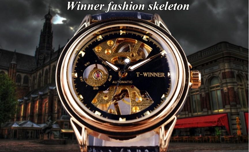 Đồng hồ Winner GMT917-1 2016 dành chon nam màu đen vàng sang trọng.