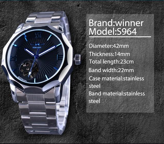 Đồng hồ Winner S964 dành chon nam màu xanh dương hiện đại.