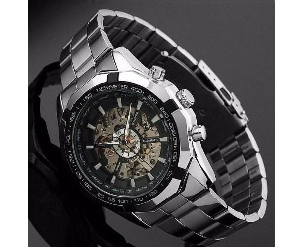 Đồng hồ nam Winner TM340 cơ lộ máy dây thép không gỉ màu đen cá tính.