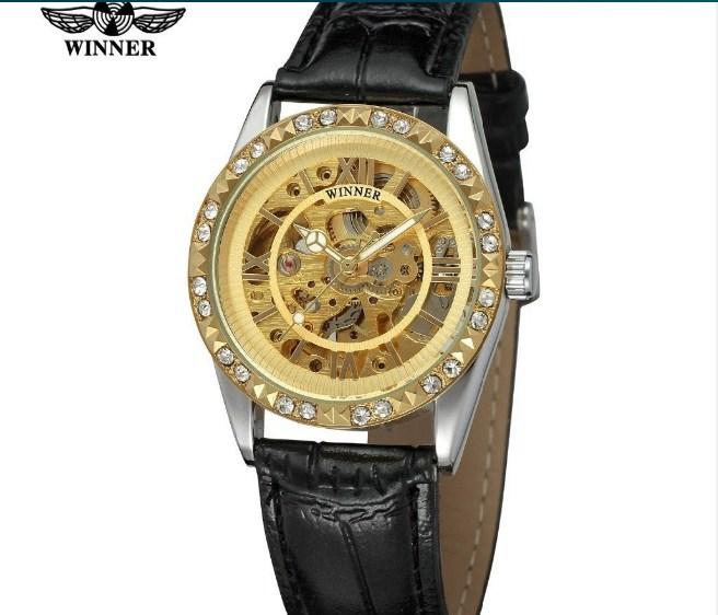 Đồng hồ nữ Winner WRL8117M3T3 màu vàng thời trang.