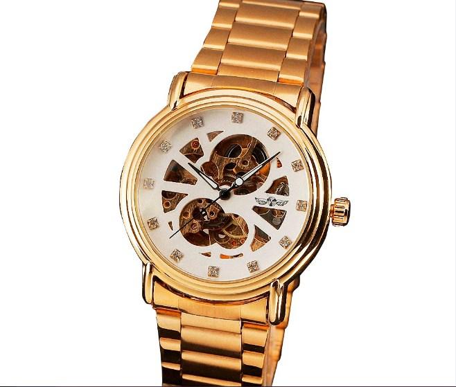 Đồng hồ cơ tự động Winner dành cho nữ màu vàng quý phái.