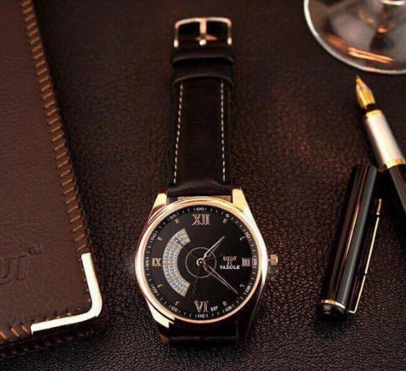 Đồng hồ nam dây da Yazole T379 NK226 (Nâu)
