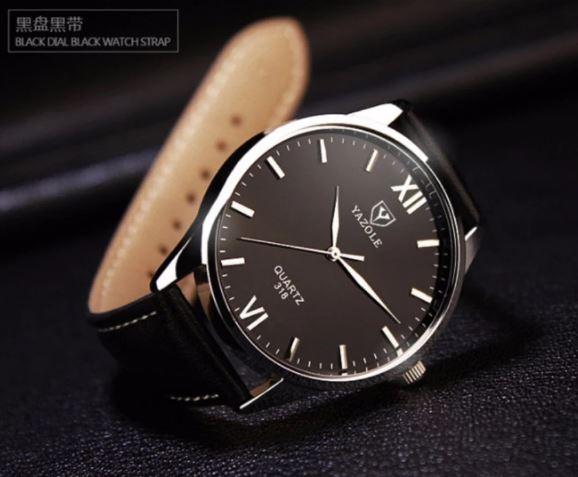Đồng hồ nam dây da cao cấp Yazole 9534