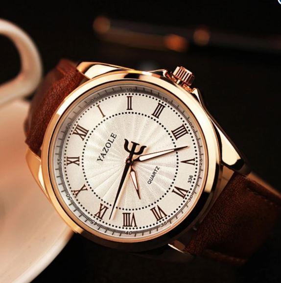 Đồng hồ nam dây da Yazole 366 phong cách Châu Âu