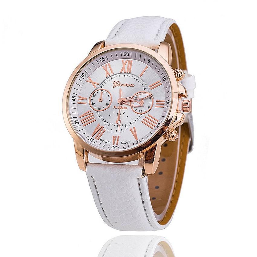 Đồng hồ nữ Geneva dây da tổng hợp (Trắng)
