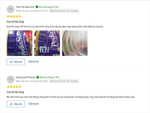 Một số Đánh giá sữa Pediasure trên trang Tiki: