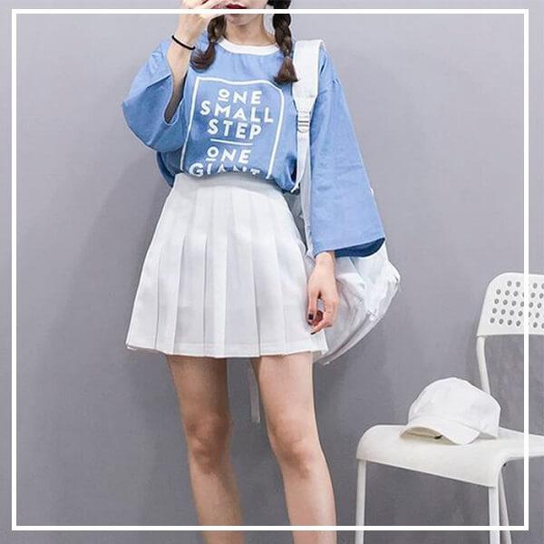 Áo phông kết hợp chân váy chữ A